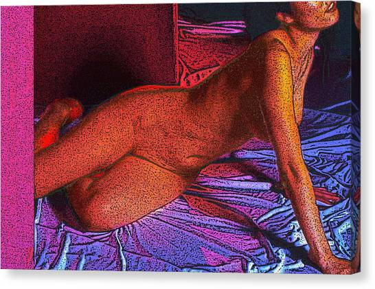 Girl On A Sheet Canvas Print