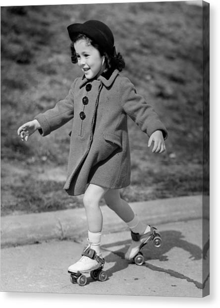 Girl Roller-skating Canvas Print by George Marks