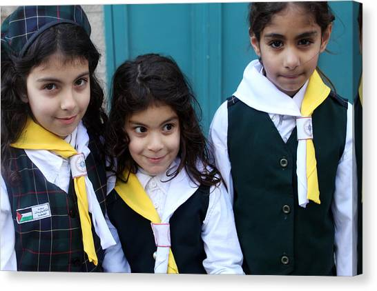 Girl Scouts Canvas Print - Girl Scouts At Orthodox Christmas Celebration by Munir Alawi