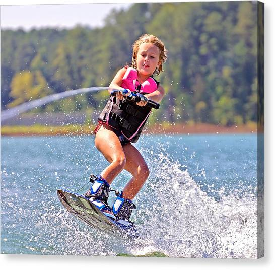 Girl Trick Skiing Canvas Print