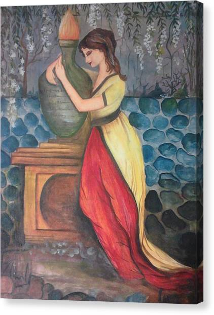 Girl With Fire Canvas Print by Muhammed Mudassir