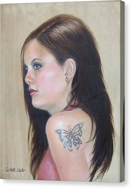 Girl With The Butterfly Tattoo Canvas Print by JoAnne Castelli-Castor