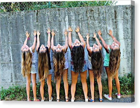 Girls And Long Hair Canvas Print by Jenny Senra Pampin
