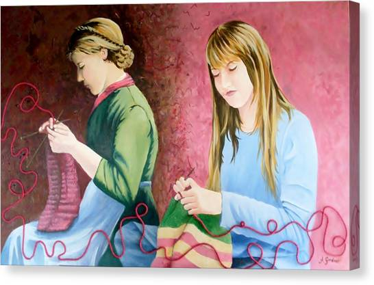 Girls Knitting Canvas Print