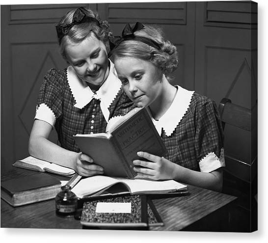 Girls Studying Tegether Canvas Print by George Marks