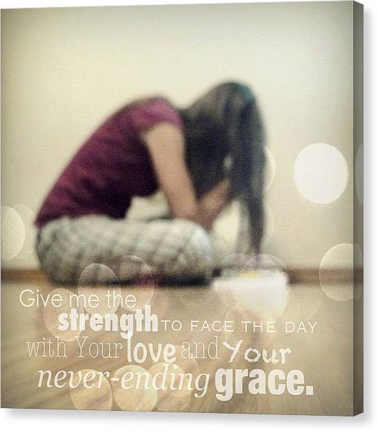 Hearts Canvas Print - Give Me The Strength To Face The Day by Traci Beeson