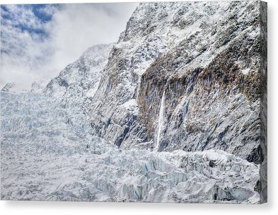 Fox Glacier Canvas Print - Glacial Ice Field And Waterfall by Jeffrey Conley