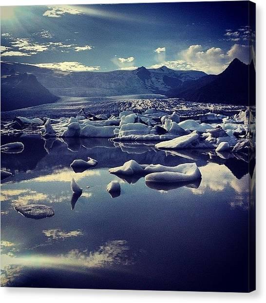 Glaciers Canvas Print - #glacier #lagoon #ice #iceland by Lilja Arnthorsdottir