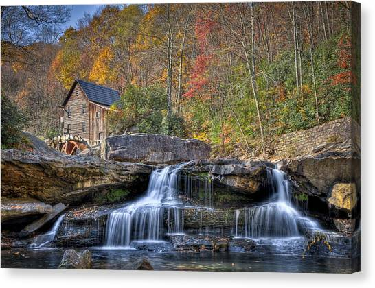 Canvas Print featuring the photograph Glade Creek Grist Mill At Babcock by Williams-Cairns Photography LLC