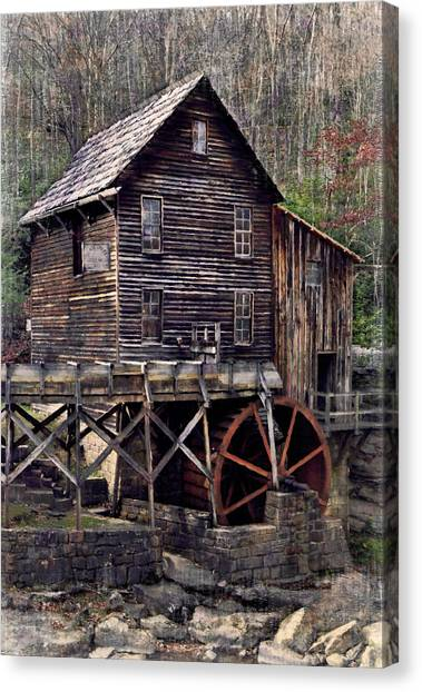 Glade Creek Grist Mill Series II Canvas Print by Kathy Jennings