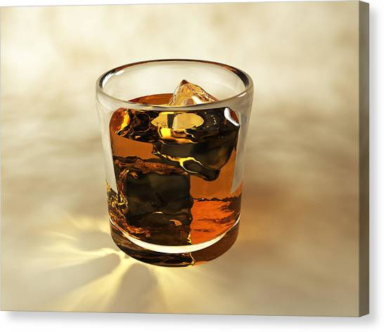 Glass Of Whiskey, Computer Artwork Canvas Print by Christian Darkin