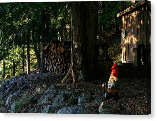Gnome And The Woodpile Canvas Print