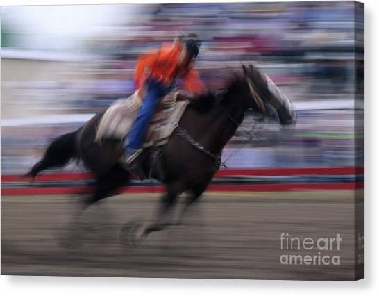 Barrel Racing Canvas Print - Rodeo Go For Broke by Bob Christopher