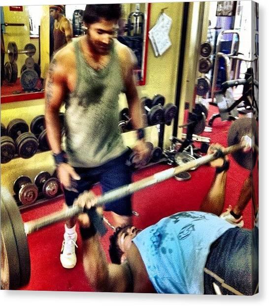 Gym Canvas Print - Go Hard, Or Go Home!! #instagram by Abid Saeed