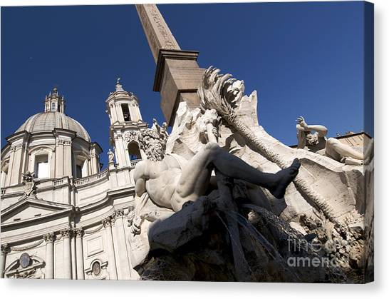 Ganges Canvas Print - God Of The River Ganges. Fontana Dei Quattro Fiumi. Piazza Navona. Rome by Bernard Jaubert