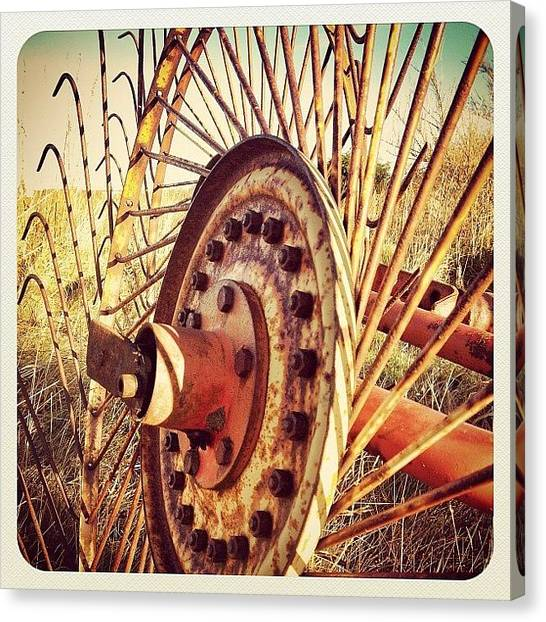 Harvest Canvas Print - Going For A Spin! #farm #farming #tool by Robert Campbell