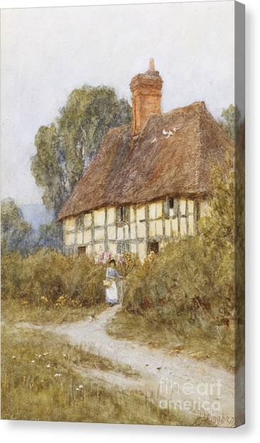 Half-length Canvas Print - Going Shopping by Helen Allingham