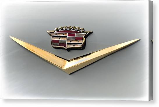 Vintage Hood Ornament Canvas Print - Gold Badge Cadillac by Douglas Pittman
