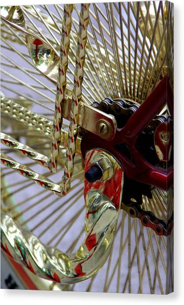 Gold Low Rider Spokes Canvas Print by Tam Graff