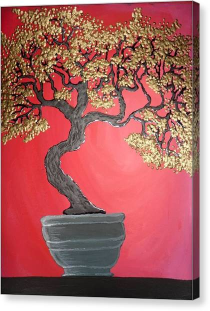 Golden Bonsai Canvas Print by Silvia Louro