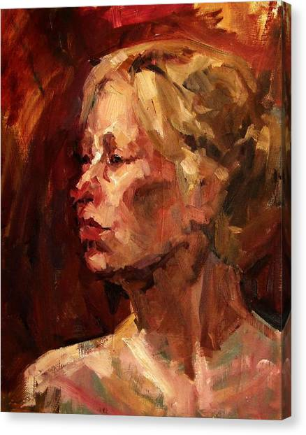 Golden Hair Portrait Of Woman Head In Crimson Yellow Hardworking Fieldworker Mother Whos Thoughtful Canvas Print