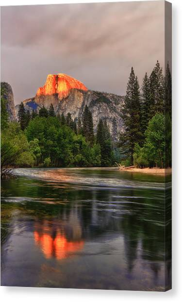 Golden Light On Halfdome Canvas Print