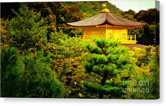 Golden Pavilion Temple In Kyoto Glowing In The Garden Canvas Print by Andy Smy