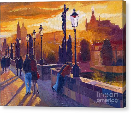 Buildings Canvas Print - Golden Prague Charles Bridge Sunset by Yuriy Shevchuk