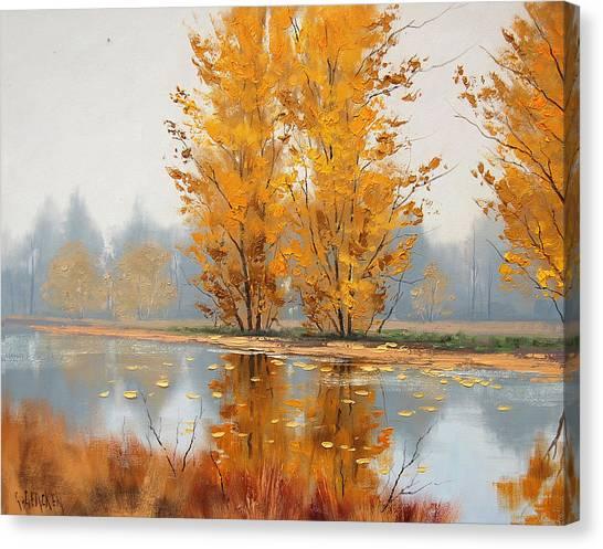 Autumn Leaves Canvas Print - Golden Stillness  by Graham Gercken
