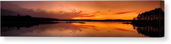Golden Sunset Panorama On A Quiet Lake Canvas Print