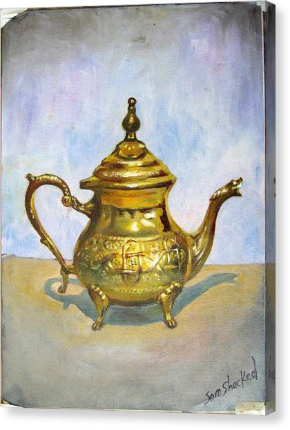 Golden Tea Kettle Canvas Print