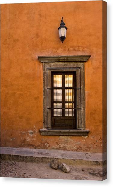 San Miguel De Allende Canvas Print - Golden Window Mexico by Carol Leigh