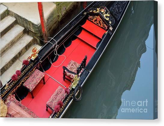 Gondola By Wharf Canvas Print by Sami Sarkis
