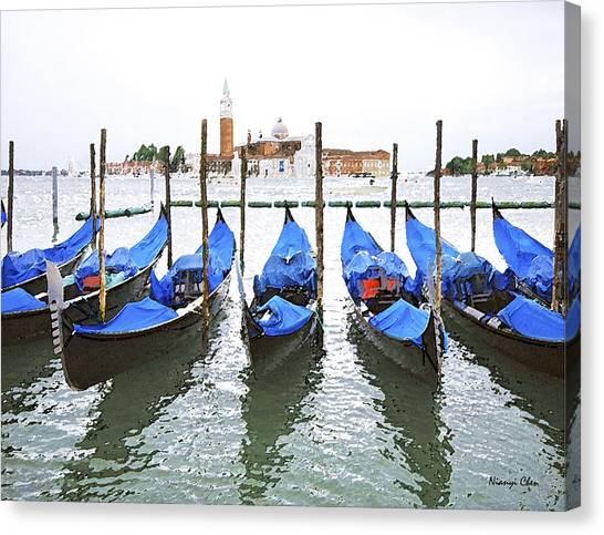 Gondolas In Venice  Canvas Print by Nian Chen