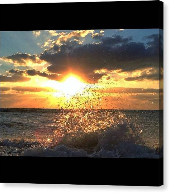 Beach Sunrises Canvas Print - #good #morning #miami #beautiful #sun by Alexandr Dobrovan