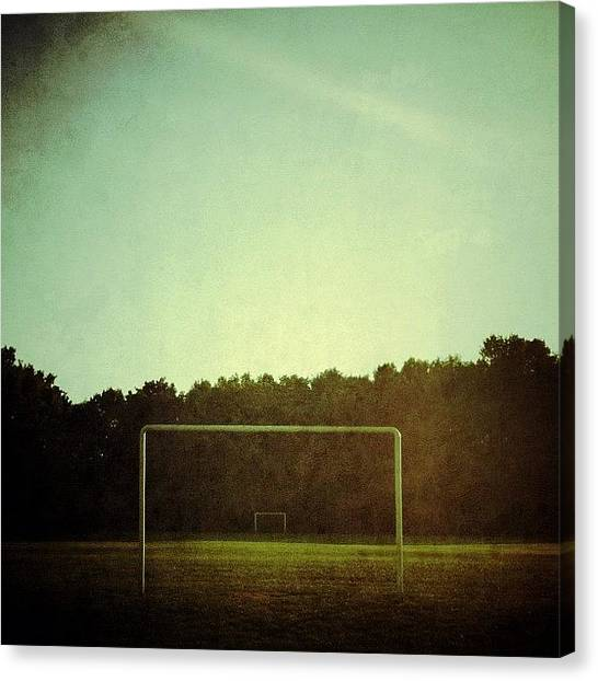 Goal Canvas Print - Good Morning!  #soccerfield #soccer by Marc Plouffe