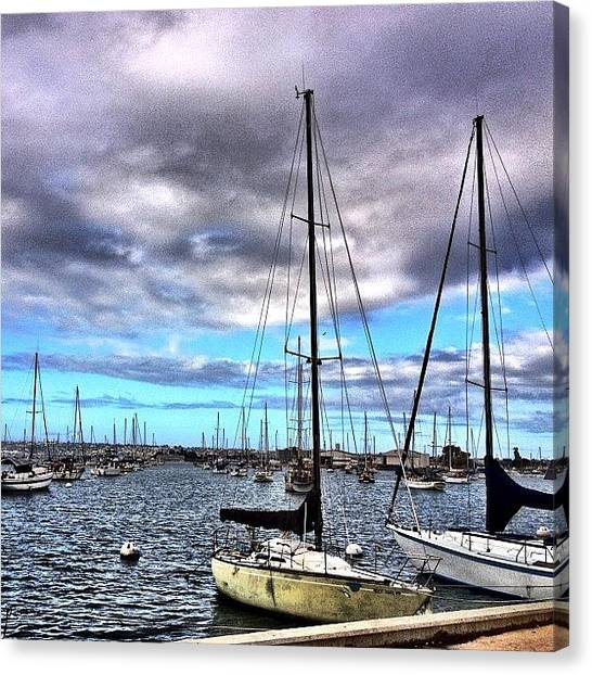 Sailboats Canvas Print - Good Morning Stormy Harbor by Madeleine Claire