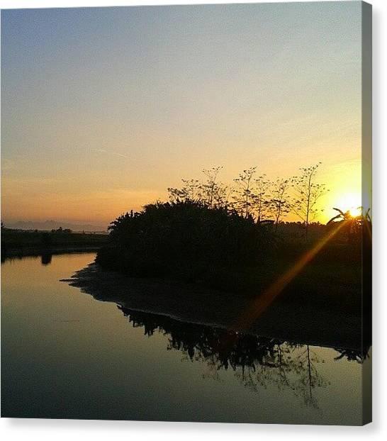 Liquor Canvas Print - Good Morning #sunrise #river #morning by Gin Zhao Yun