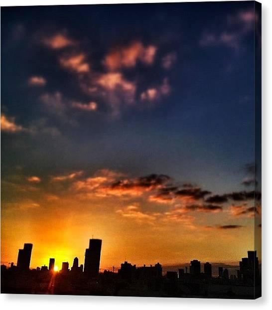 Sunrise Horizon Canvas Print - Good Morning #tlv by Eyal Warshavsky
