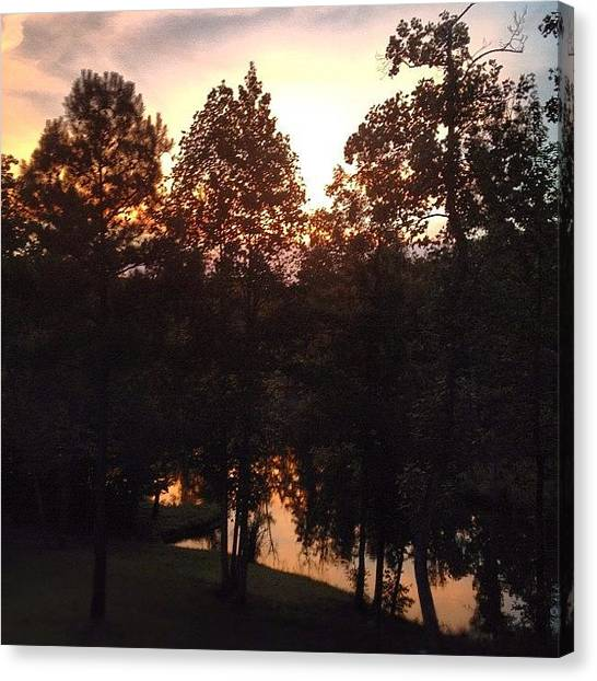 Lake Sunsets Canvas Print - Goodnight Y'all. #sunset #reflection by Molly Slater Jones