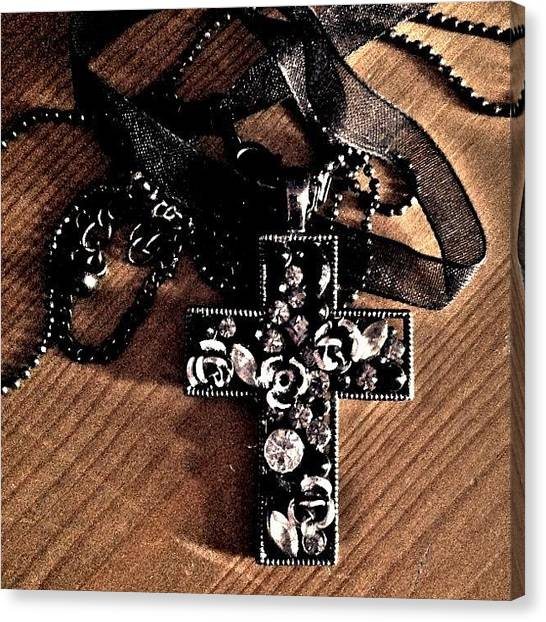 Gothic Art Canvas Print - #goth Black #cross Necklace #jewelry by Pixie Copley