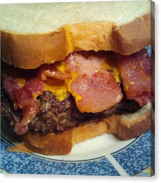 Hamburger Canvas Print - #gothungry #hamburger #bacon #homemade by Fernando Ostos