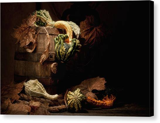 Keg Canvas Print - Gourds And Leaves Still Life by Tom Mc Nemar