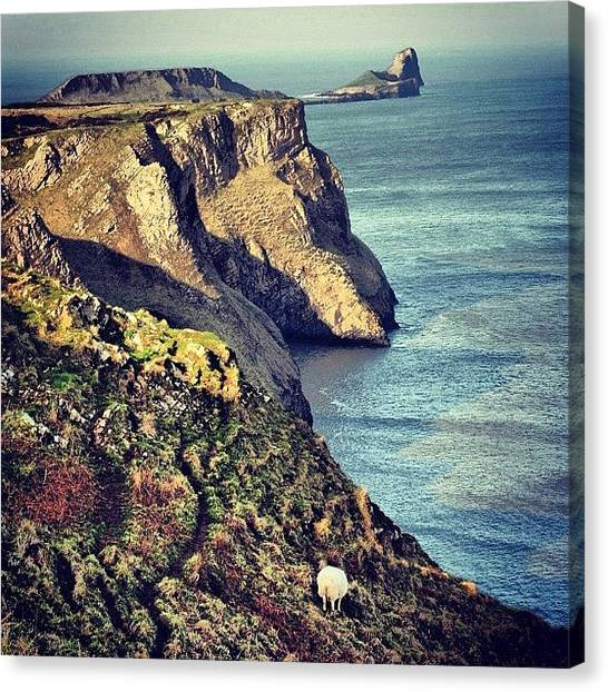Beach Cliffs Canvas Print - #gower #rhossili #bay #island #coast by Owain Evans
