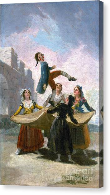 Trampoline Canvas Print - Goya: The Puppet, 1791 by Granger