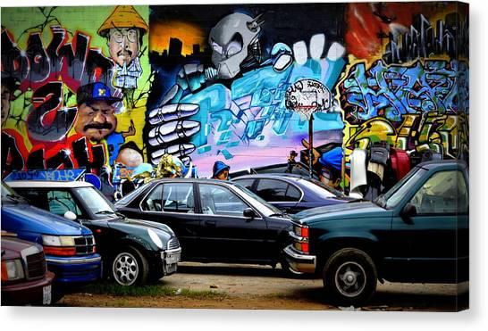 Graffiti Walls Canvas Print - Graffiti Parking Lot by Fraida Gutovich