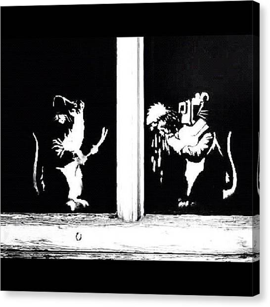 Graffiti Canvas Print - #graffiti #streetart #stencil #banksy by A Rey