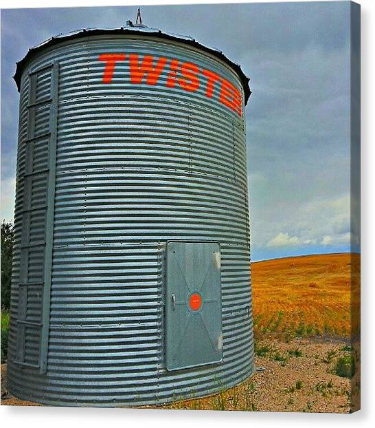 Harvest Canvas Print - #grainbins #saskatchewan #hdr #samsung by Michael Squier