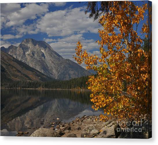 Grand Teton National Park Fall Cloud Mountain Reflections Canvas Print