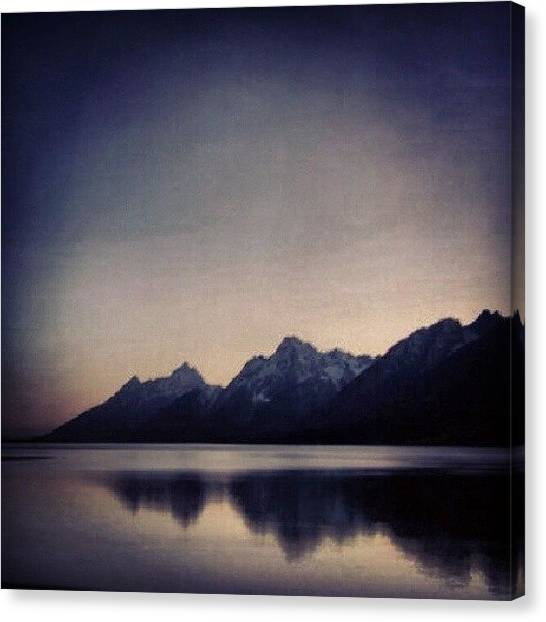 Wyoming Canvas Print - Grand Tetons At Sunset. #tetons by Yvette Harbour